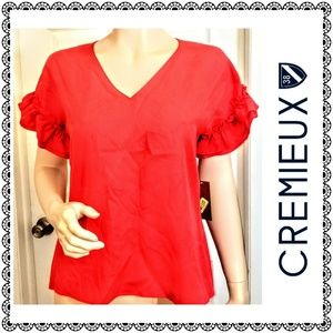 {Cremieux} red v-neck ruffle sleeved top, sz XS